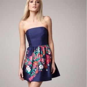 Lilly Pulitzer Lottie Strapless Dress Blue Floral